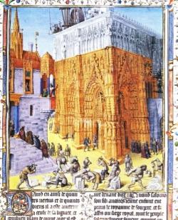 Der Tempel Salomonis in Jerusalem im Bau, Miniatur von Jacques Fouquet (15. Jh.), für uns: Bau einer Kathe- drale des 15. Jh.s